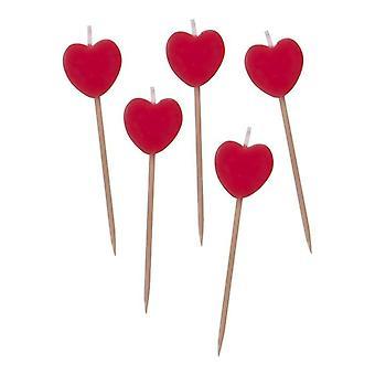 5 røde stearinlys - 7cm Pick Stearinlys