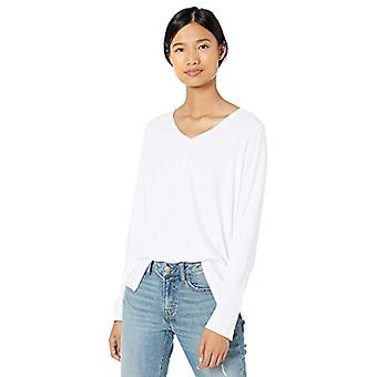 Brand - Goodthreads Women's Washed Jersey Cotton Long-Sleeve V-Neck T-Shirt, White,Small