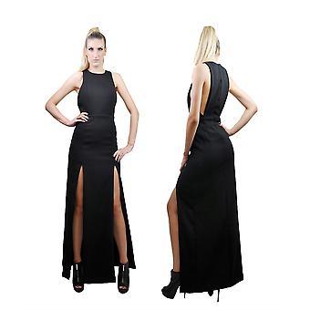 Frauen's Crew Neck High Oberschenkel Split offenen Rücken Bodycon Maxi Kleid