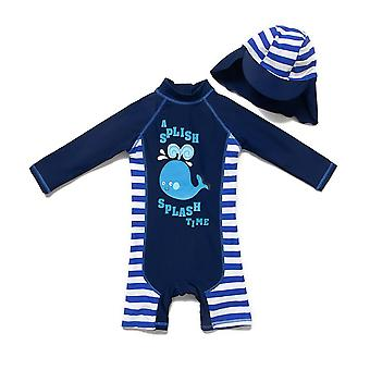 Bonverano Baby Boys One Piece UPF 50+ Sun Protection L/S Sleeves Zip Swimsuit