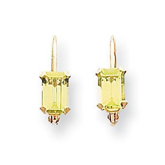 14k Yellow Gold Polished Prong set Leverback Emerald Shape Peridot Earrings - Measures 12x4mm