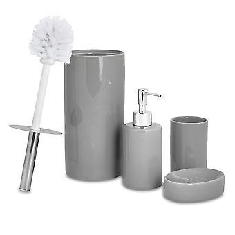 4-delige badkamer accessoires set - zeep dispenser, schotel, tandenborstel houder, toilet borstel - Grijs