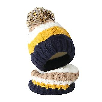 Toddler Girl & Boy Baby Splice Crochet Knit Hat Beanie Hairball Cap Scarf Set Suit