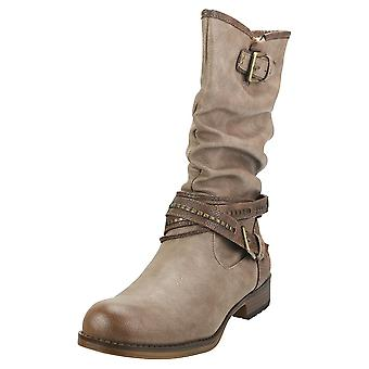 Mustang Winter Ankle Boots Womens Biker Boots in Taupe