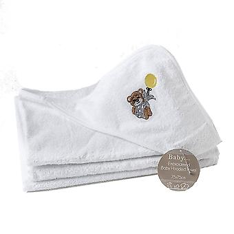 2 x Hooded Towel 100% Cotton 1 Plain 1 Embroidered Childrens Cuddle Robe Hooded Towel