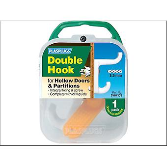 Plasplugs Hollow Door Hook Double White DHW133