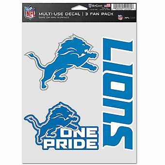 NFL Sticker Multi-Use Set på 3 20x15cm - Detroit Lions