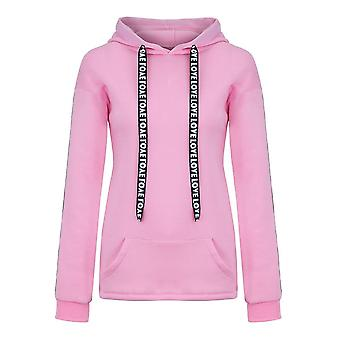 Long sleeve solid hooded sweatshirt pullover tops letter print hoodies for women