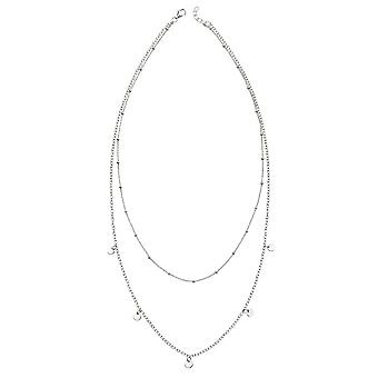 Elements Silver 925 Sterling Silver Ladies' Double Row Chain Necklace with Mini Disc Charms 42-47cm
