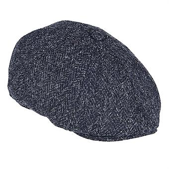 ZH015 (BLACK HB XL 62cm ) Arran Harris Tweed 8-Pc Cap
