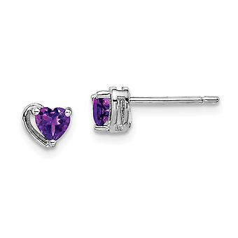 925 Sterling Silver Rhod plated Amethyst Love Heart Post Earrings Jewelry Gifts for Women - .40 cwt