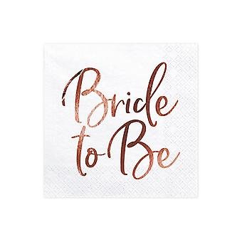 'Bride to Be' Paper Napkins White Rose Gold Hen Party Wedding x 20