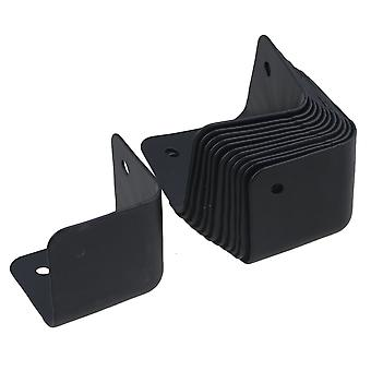 12PCS Iron Right Angle Furniture Cabinets Speaker Corner Protector Black