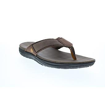 Clarks Schritt Beat Dune Mens Brown Canvas Flip-Flops Sandalen Schuhe