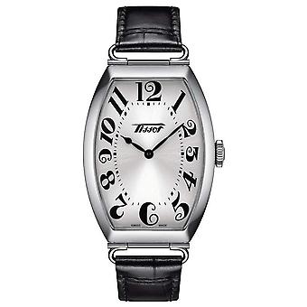 Tissot T1285091603200 Heritage Porto Black Leather and Silver Stainless Steel Square Watch
