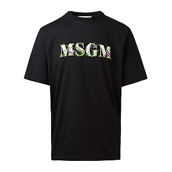 Msgm 2940mm22020759899 Mænd's Black Cotton T-shirt