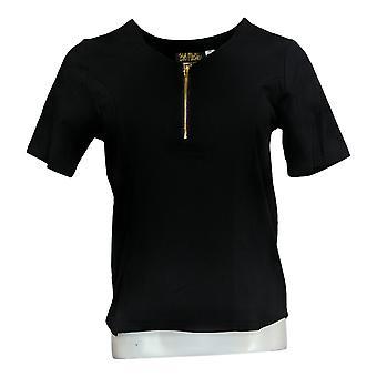 Bob Mackie Women's Top (XXS) V-Neck Zip Short Sleeve Tee Black A365894