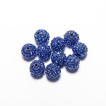 10 Stk Großhandel 10mm Himmel blau Shamballa Kristall Pave Clay Disco Ball/Perlen Tschechische