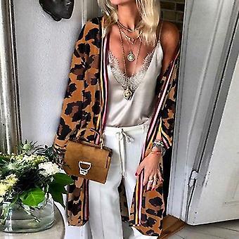 Elegant Leopard Print Long Cardigan Jacket