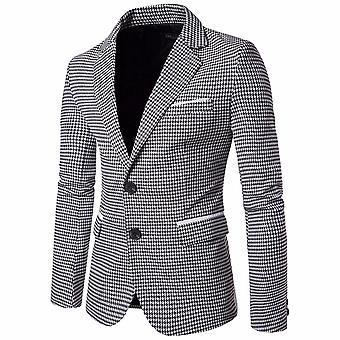 Fashion Men Slim Fit Suit Jacket Lattice Autumn Winter Casual Blazer