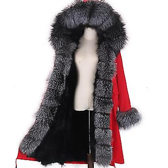 New Mare Raton Guler Hooded Real Fox Fur Liner Coat Outwear Jacheta de iarna