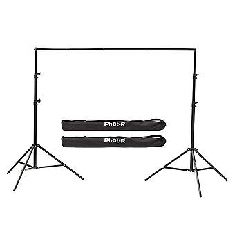 Phot-r 2.4x3m heavy duty studio background support system, 2x 2.4m air cushioned stands & 3m telesco