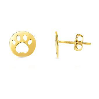 14 k geel gouden kat Pow Stud Earrings Stud Earrings