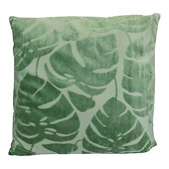Green Embossed Leaf Cushion, 42cm