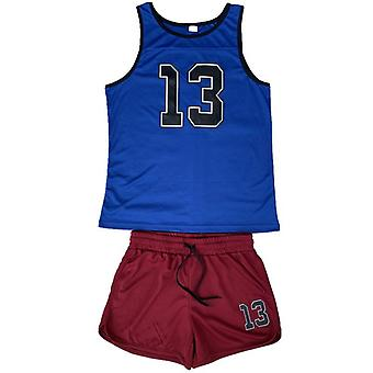 Mens Sport Suits Running Sets- Men Joggers / Basketball Vest + Shorts Male