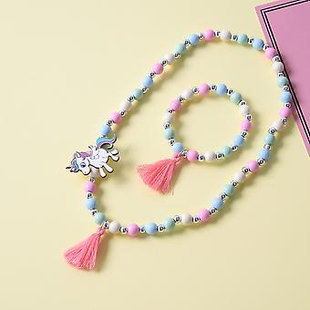 Cute Unicorn Cartoon Flower - Sweater Necklace / Bracelet