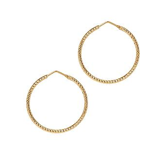 The Hoop Station Roma Diamond-Cut Gold Plated 35 Mm Hoop Earrings H102Y