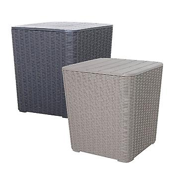 Outdoor Rattan Effect Side Table Storage Box Seat 43L Garden Patio Furniture