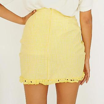 Høj talje ruched blonder trim mini nederdel