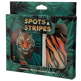 Fun novelty big cat spots and stripes luggage tag and passport  set