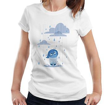 Pixar Inside Out Tristeza lloviendo camiseta de mujeres