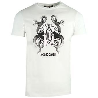 Roberto Cavalli peili käärme logo valkoinen t-paita