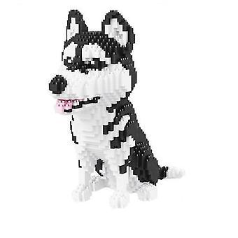 Mini Bloques Modelo de Perro, Pequeños Ladrillos Dachshund Figura de Montaje Husky