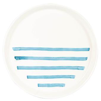 Blue Stripe Dinner Plate Patterned Porcelain Dining Table Dishes 26.5cm