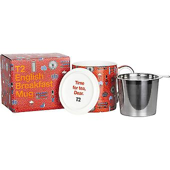 DZK H210BC946 Iconic Fine Bone China Mug with Stainless Steel Infuser, English Breakfast (400ml /