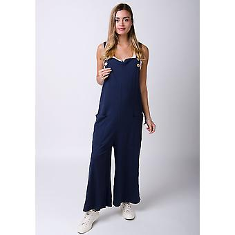 Amber loose fit jersey dungarees - marine
