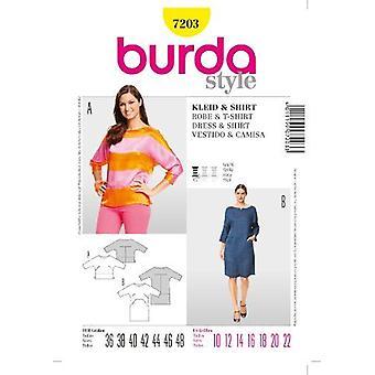 Burda Sy mønster 7203 savner kjole og topp størrelse 10-22
