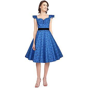 Chic Star Ruffle Sleeve Retro Dress In Blue/Snow
