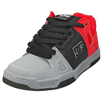 DC Shoes Stag Mens Skate Trainers in Red Black Grey