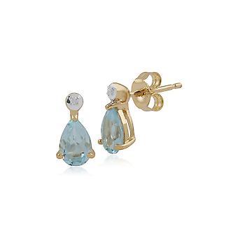 Gemondo 9ct geel gouden 0,66 ct Aquamarine & Diamond Pear Stud Earrings Stud Earrings
