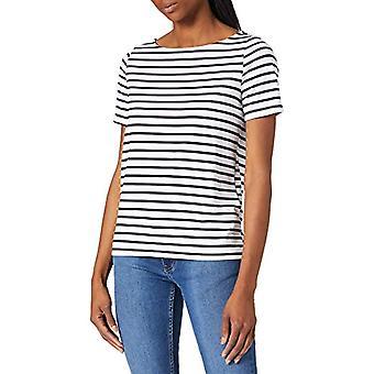 PIECES PCINGRID SS Top T-Shirt, Bright White/Stripes: Black, S Woman
