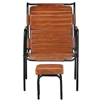 vidaXL relaxstoel met voetenbank Bruin echt leer