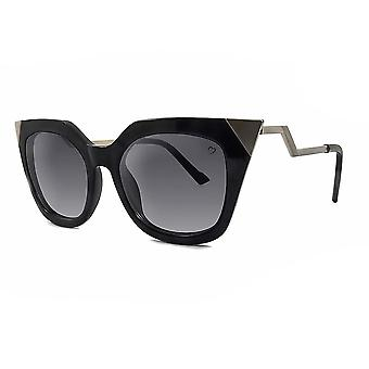 Ruby rocks metal tip and angled temple mykonos sunglasses in black