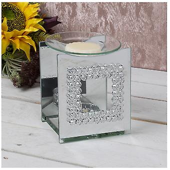 Mirror Crystal Wax Melter With Crystal Square Design By Lesser & Pavey
