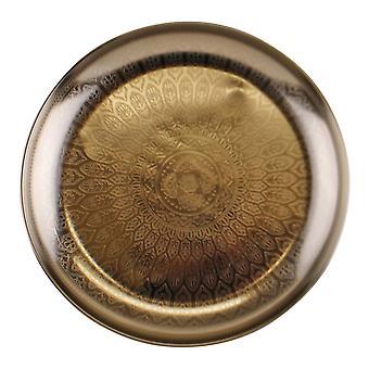 Ozdobna srebrna metalowa taca z wytrawiona konstrukcja
