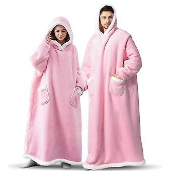 المتضخم يمكن ارتداؤها مقنعين طويلة الشتاء التفاف دافئ مع الصوف شيربا لينة (الوردي)
